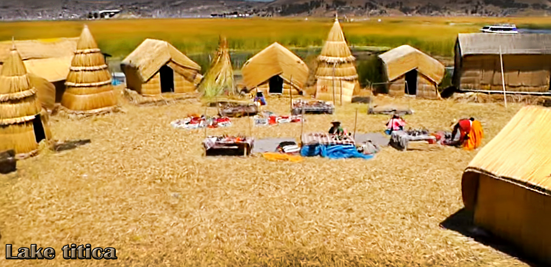 The floating Titicaca Lake islands are made entirely of cane by the Uros town.